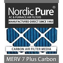 Nordic Pure 20x24x2 MERV 7 Plus Carbon AC Furnace Air Filters, Qty 3