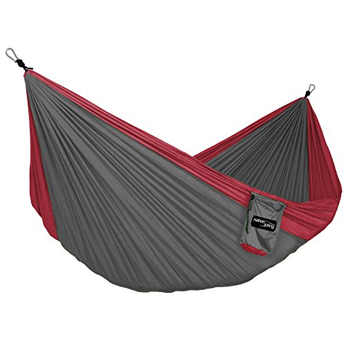 Native Spring Portable Camping Single Parachute Hammock Ultralight Nylon for Travel Charcoal & Red by Native Spring