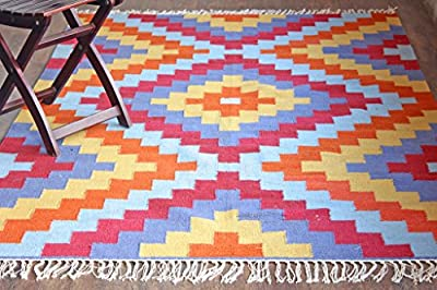 Hot Weave Handwoven and Handmade 5'x8' Multicolor Geometric Pattern Area Rug, Style 0665