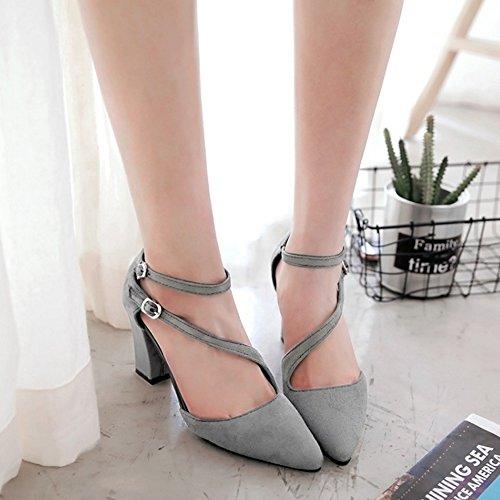 COOLCEPT Mujer Moda Correa de Tobillo Sandalias Tacon Ancho Cerrado Zapatos Grey