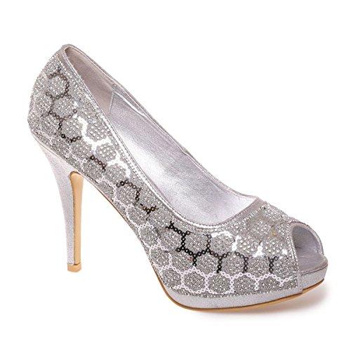 Modeuse Sintético Material Plata Zapatos La Mujer Vestir De vTq14wxw7