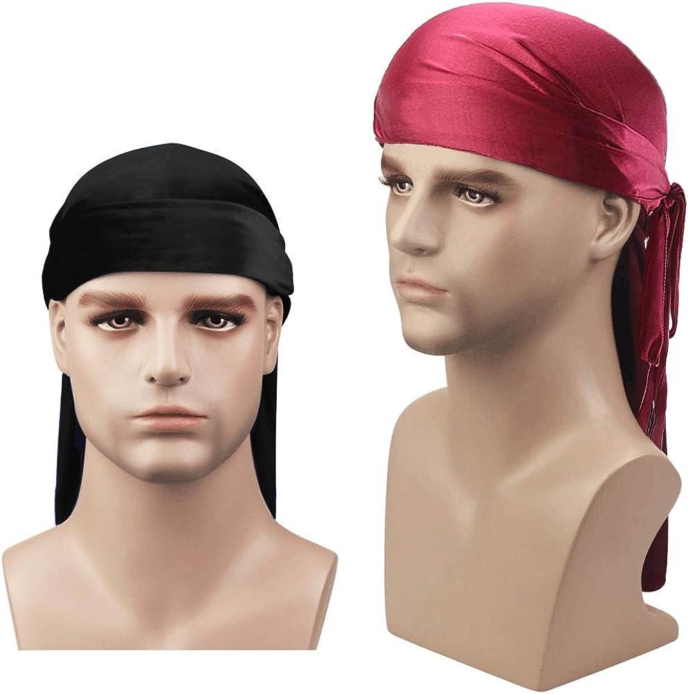 Schwarz M/änner Frauen Seidensatin Atmungsaktiv Seidig Durag 360 Wave Cool Bandana Hut Turban