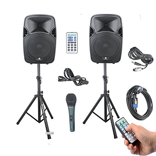 PRORECK PARTY 12 Portable 12-Inch 1000 Watts 2-Way Powered PA Speaker System Combo Set with Bluetooth/USB/SD Card Reader/FM Radio/Remote Control/Speaker Stand (Best Subwoofer For Mobile Dj)