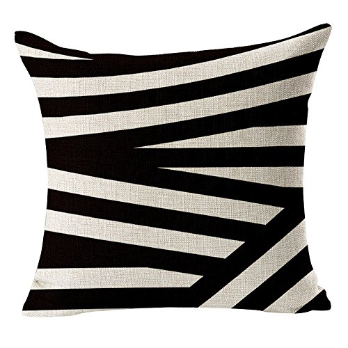 Yo-You Square Throw Pillow Case Black White Geometry Cushion Cover For Sofa (AA2) (Green And White Accent Chair)