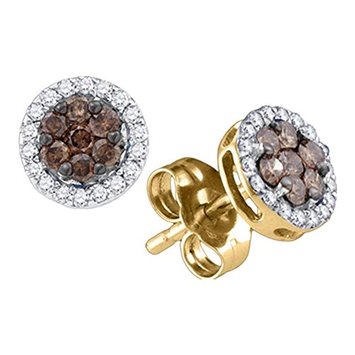 (10K Yellow Gold Round Cut Chocolate Brown and White Diamond - Flower Shape Halo Invisible & Channel Set Studs Earrings with Secure Screw Back Closure - (1/4 cttw.))