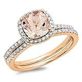 10K Rose Gold Cushion Morganite & Round White Diamond Bridal Halo Engagement Ring Set (Size 5)