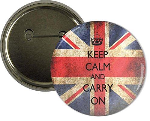 Rikki Knight Keep Calm & Carry On British Flag Design 2.25 inch (Union Jack Design)