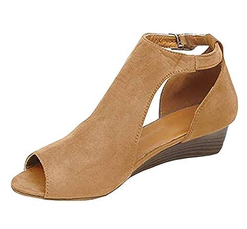 Minetom Sandalias De Mujer Verano Cuña Peep Toe Cabeza Pescado Zapatos De Tacón Alto Chancletas Zapatillas Sandals Romanas: Amazon.es: Zapatos y ...
