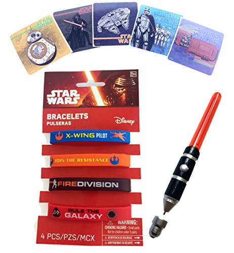 Star Wars Lightsaber Pen (Star Wars Gift Pack for Kids - with Light Up Lightsaber Pen, Star Wars Silicone Bracelets & Force Awakens Stickers- Star Wars Stocking Stuffers)