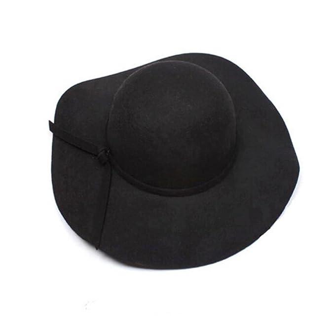 3142d3dc Koly Women's Faux Wool Wide Brim Felt Bowler Fedoras Hats Lady Floppy Cap  (Black)