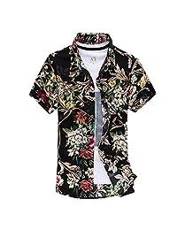 Pishon Men's Short Sleeve Shirt Cotton Floral Button Up Hawaiian Shirts (XS-3XL)