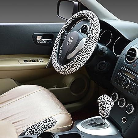 15 Estampado Leopardo HCMAX Prima Felpa Suave Funda para Volante Cubierta del Volante del Veh/ículo Confortable Invierno Protector del Volante del Coche Universal Di/ámetro 38cm