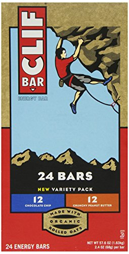 Clif Bar Variety Pack, Chocolate Chip, Crunchy Peanut Butter, 2.4 oz.  (24ct Bars)