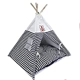 Lovely summer Washable Durable Navy Stripe Style Pet House Tent and Pet Bed Mat for Little Dogs and Cats with Blue Cushion