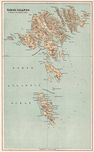 Faroe Islands. Denmark. BARTHOLOMEW - 1886 - old antique vintage map ...