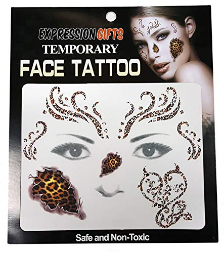 Expression Gifts Cheetah Print - 2 Pack Face Tattoos ()