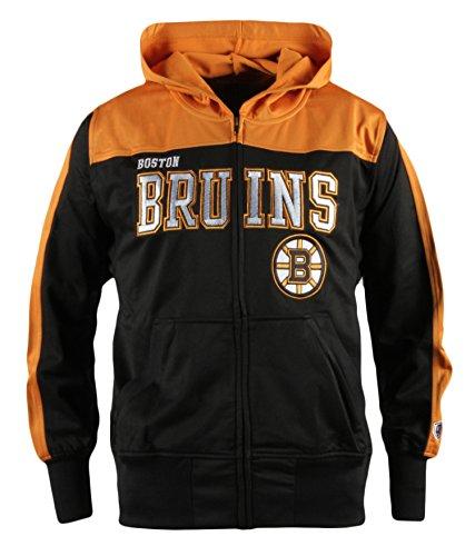 (Old Time Hockey NHL Boston Bruins Youth Boreland Full-Zip Hoodie, Small, Black)
