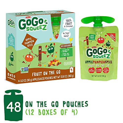 (GoGo squeeZ Applesauce on the Go, Apple Pumpkin Cinnamon, 3.2 Ounce Portable BPA-Free Pouches, Gluten-Free, 48 Total Pouches (12 Boxes with 4 Pouches)