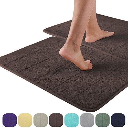 VEEYOO Memory Foam Bath Mat Rug – Absorbent Non Slip Bathroom Mat Soft Velvet Bath Tub Mat, 20″X32″ Stripe Chocolate, 1 Pack