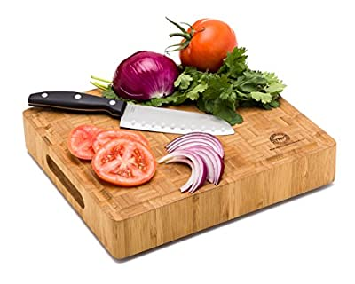 Small End Grain Bamboo Cutting Board | Professional, Antibacterial Butcher Block | Non-Slip Rubber Feet by Top Notch Kitchenware