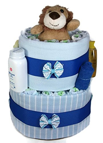 Sunshine Gift Baskets - Blue Diaper Cake Gift Set with a Lion