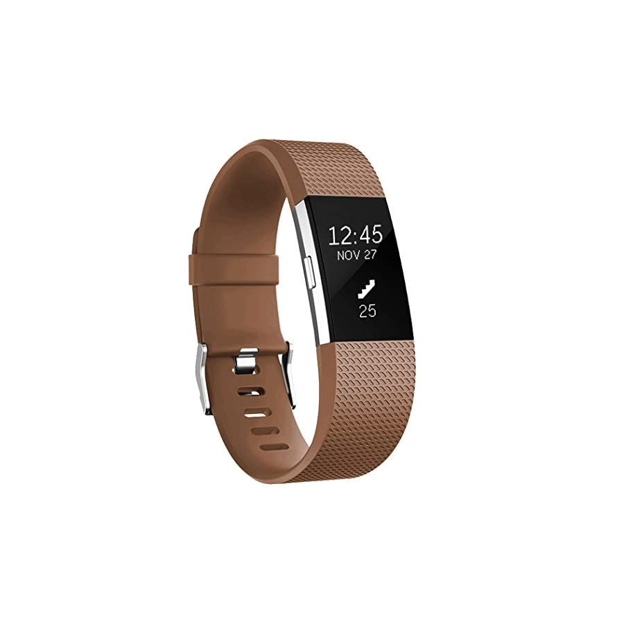 GEAK Bands Replacement for Fitbit Charge 2, Adjustable Sports Wrist Bands for Fitbit Charge 2, Small Coffee