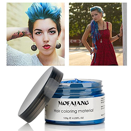 MOFAJANG Hair Color Wax, Instant Blue Hair Color Wax, Temporary Hairstyle Cream 4.23 oz, Hair Pomades, Hairstyle Wax for Men and Women (Blue) by MS.DEAR (Image #8)