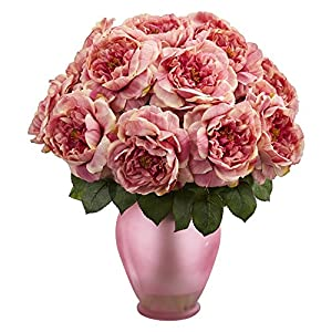 Nearly Natural 1620-PK Artificial Rose Colored Vase Silk Arrangements, Pink 43