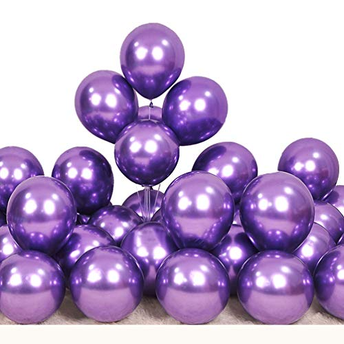 AWESMR Party Balloons 12 inch 50 Pcs Latex Metallic Balloons Helium Shiny Balloon Decor Party for Birthday,Baby Shower,Wedding,Graduation Party Decoration Supplies Balloon (Purple)