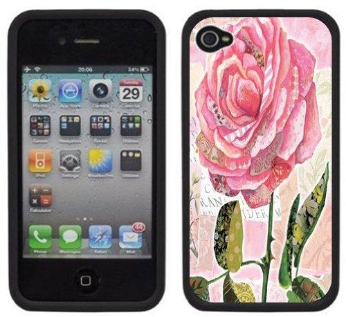 Rose Ancien | Fait à la main | iPhone 4 4s | Etui Housse noir