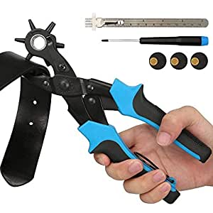 E·Durable Sacabocados Agujero Cinturon Perforadora de 6 Tamaños 2-4.5 mm tenaza Perforadora de Cuero para Hacer Agujeros Cinturon para Cinturones, Monederos, Correas De Reloj,Bolso