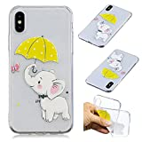 Creative Case for iPhone X,Transparent Soft Clear TPU Cover for iPhone X,Leecase Umbrella Elephant Cute Pattern Flexible Protective Case Cover for iPhone X