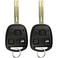 KeylessOption Keyless Entry Remote Control Uncut Blank Car Key Fob Chipped For Lexus LS430 HYQ12BBK (Pack of 2)