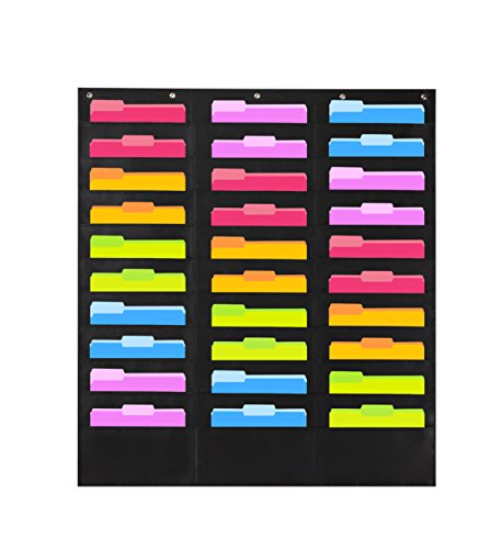 (Heavy Duty Storage Pocket Chart with 30 Pockets, 5 Over Door Hangers Included | Hanging Wall File Organizer by Hippo Creation - Organize Your Assignments, Files, Scrapbook Papers & More (Black))