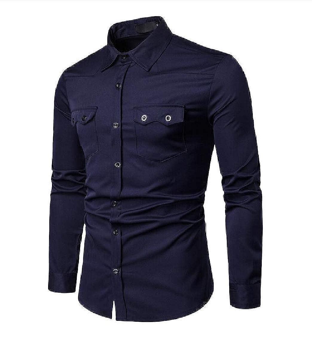 Hajotrawa Men Button Down Slim Fit Long-Sleeve Solid Color Lapel Shirts