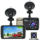 Accfly Dash Cam HD 1080P Dual Dash Camera With Rear Camera,Car Camera 170 Degree Wide Angle, Night Vision,Loop Recording, Motion Detection,G-sensor with LDWS & FCWS