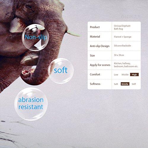 Non-Slip Large Bathroom Mat, Soft Funny Elephant Thinker Bath Rug for Children Kids Bedroom Living Room 23.2''x15.4''--Funny Elephant Thinker by Oninaa (Image #2)