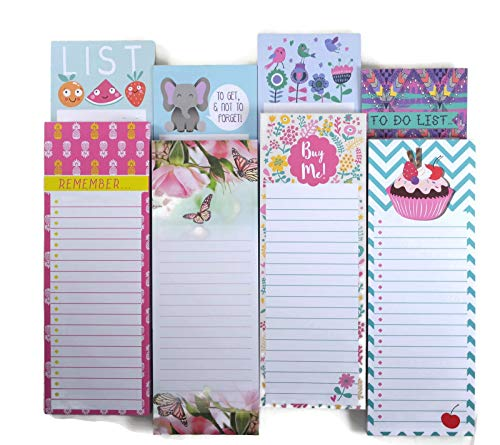 For Arts Sake 8 Pack Magnetic To Do List Notepads, 8 Designs on 3 x 8.25 Inch Memo Pads