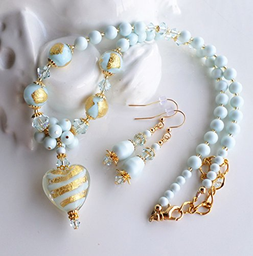 Light Blue Murano Glass and Swarovski Pearl Necklace SET by H&H Jewelry Designs