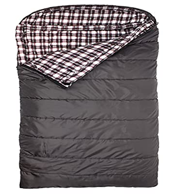 TETON Sports Fahrenheit Mammoth Queen Size COTTON Flannel Lined Sleeping Bag (94-Inchx 62-Inch, Grey)