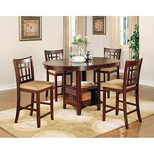Coaster Lavon 5 Piece Counter Table and Chair Set in Cherry - Sierra Guest Cherry Chair