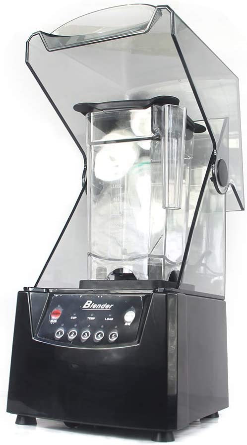 Professional Commercial Blender, 1.8L Electric Soundproof Ice Crusher Smoothies Maker with Shield Quiet Sound Enclosure, 110V Quiet Blending Machine for Ice Crushing, Smoothie, Puree, Hummus, Salsa