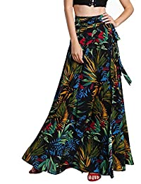 milumia Bohemia de la mujer estampado floral Wrap falda verano largo Maxi Falda