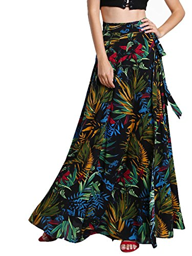 Milumia Women's Bohemian Floral Print Wrap Skirt Long Maxi Skirt Multicolor Large