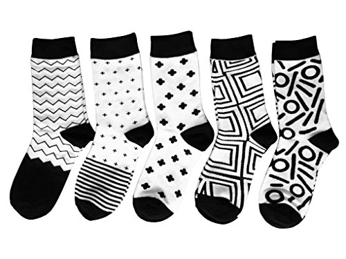 Leoparts 5 pack Women Casual Socks Black and White Patterned Fashion Geometric Novelty Design Crew