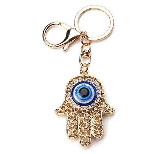 Muzuri Fengshui Amulet Hamsa Hand Blue Evil Eye Keychain/Key Chain/Key Ring Charm Purse Pendant Handbag Bag Decoration