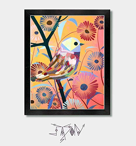 Spotter - by Artist Jason Smith - Mexican Folk Art, Mexican Home Decor, Mexico Print, Talavera, Colorful Bird Print, Floral Decor, Flower Print, Bird Prints, Boho Wall Art, Happy Art Colorful Mexican Folk Art