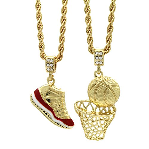 "Mens Gold Plated HipHop Retro 11 ""Cherry"" & Plain Basketball Pendant 4mm 24"" Rope Chain from L & L Nation"