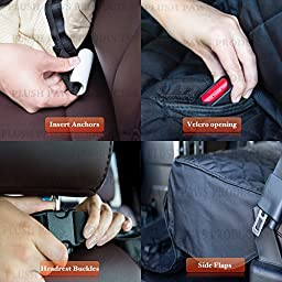 Pet Seat Cover Waterproof 2 Bonus Pet Car Seat Belts & 2 Harness, Hammock, Side Flaps, Seat Anchors, Non Slip Silicone, Quilted, Machine Washable Cars, Trucks, SUVs & Vehicles-Black