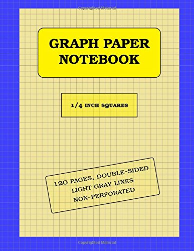 """Download Graph Paper Notebook: 1/4 inch thin (0.5pt) light gray grid lines (imperial, 120 pages): double-sided, non-perforated, perfect binding, notebook size = 8.5"""" x 11"""" PDF"""